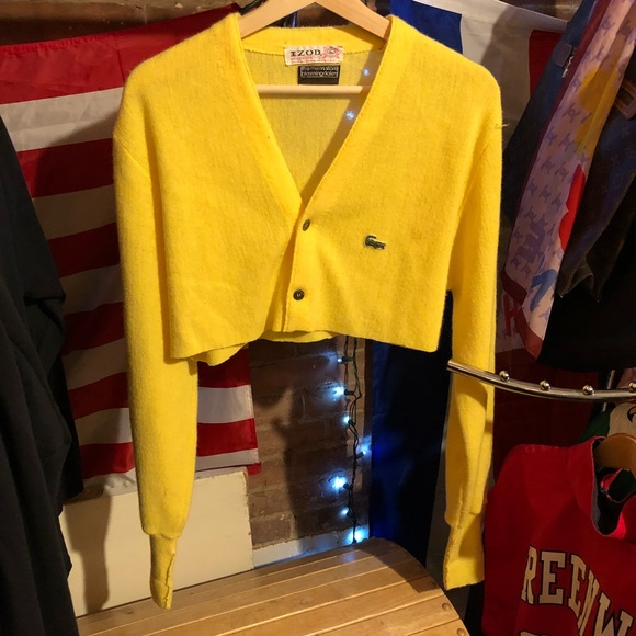6bdce2b3fb22b Lacoste Tops - Vintage Lacoste crop top cardigan sweater
